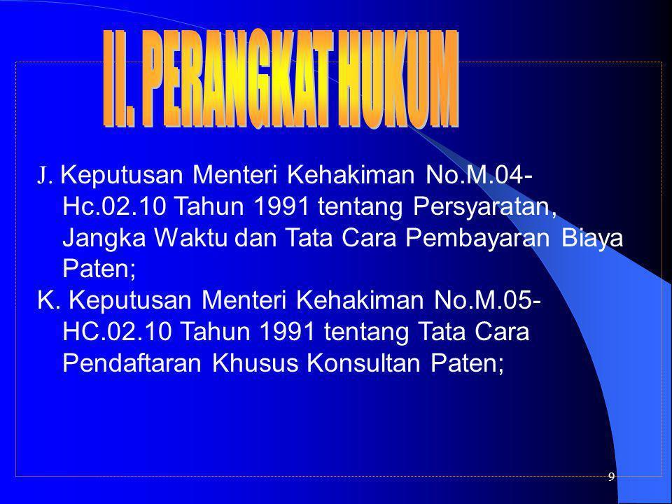 9 J. Keputusan Menteri Kehakiman No.M.04- Hc.02.10 Tahun 1991 tentang Persyaratan, Jangka Waktu dan Tata Cara Pembayaran Biaya Paten; K. Keputusan Men
