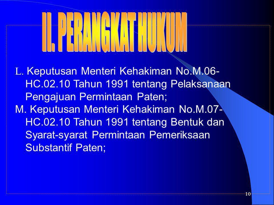 10 L. Keputusan Menteri Kehakiman No.M.06- HC.02.10 Tahun 1991 tentang Pelaksanaan Pengajuan Permintaan Paten; M. Keputusan Menteri Kehakiman No.M.07-