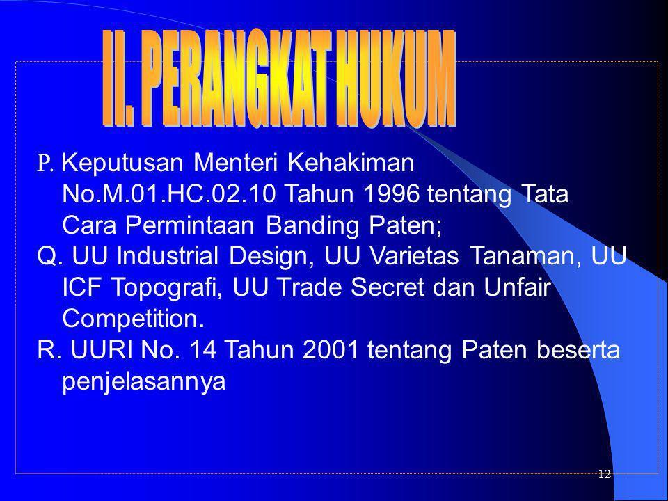 12 P. Keputusan Menteri Kehakiman No.M.01.HC.02.10 Tahun 1996 tentang Tata Cara Permintaan Banding Paten; Q. UU Industrial Design, UU Varietas Tanaman