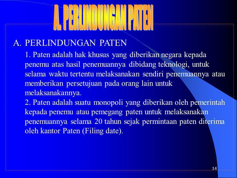 14 A.PERLINDUNGAN PATEN 1.