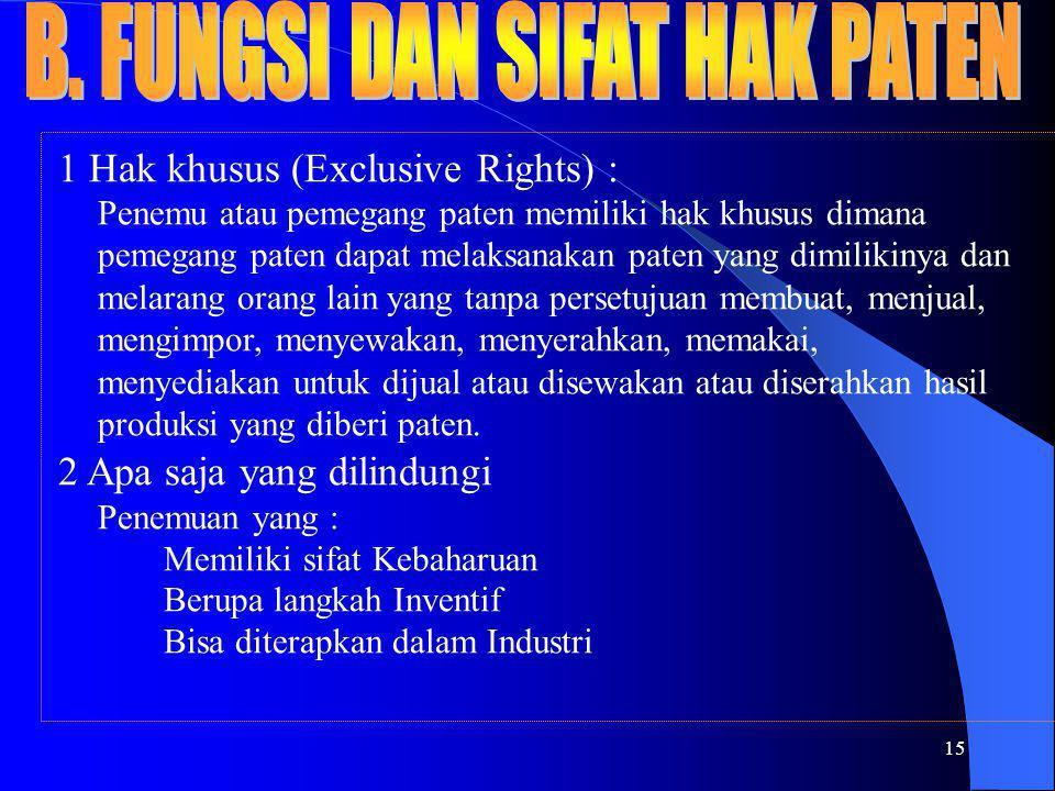 15 1 Hak khusus (Exclusive Rights) : Penemu atau pemegang paten memiliki hak khusus dimana pemegang paten dapat melaksanakan paten yang dimilikinya da