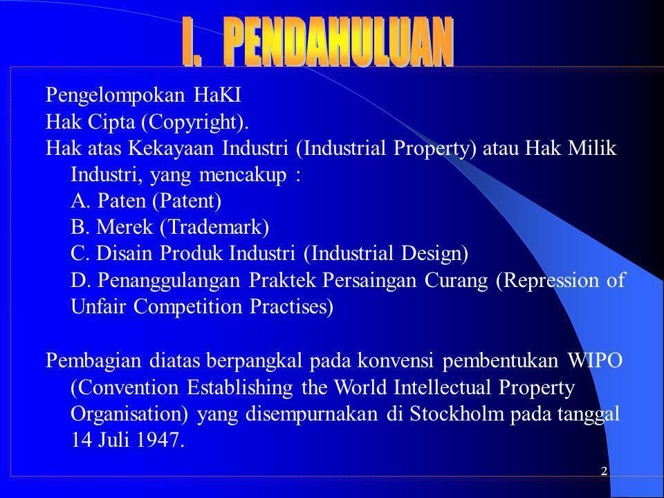 2 Pengelompokan HaKI Hak Cipta (Copyright). Hak atas Kekayaan Industri (Industrial Property) atau Hak Milik Industri, yang mencakup : A. Paten (Patent