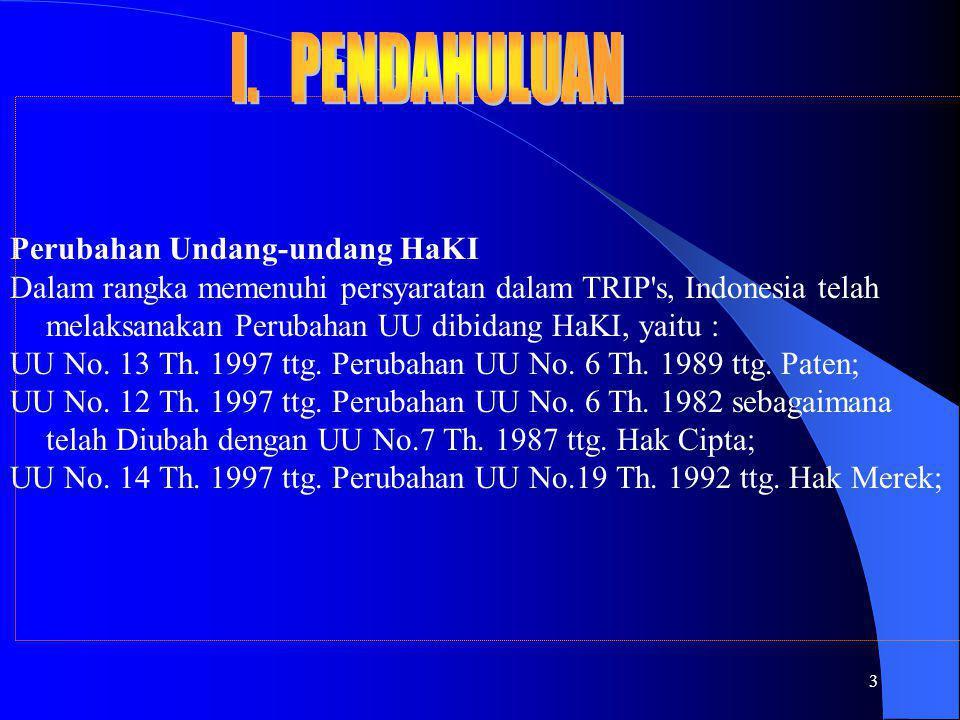 3 Perubahan Undang-undang HaKI Dalam rangka memenuhi persyaratan dalam TRIP's, Indonesia telah melaksanakan Perubahan UU dibidang HaKI, yaitu : UU No.