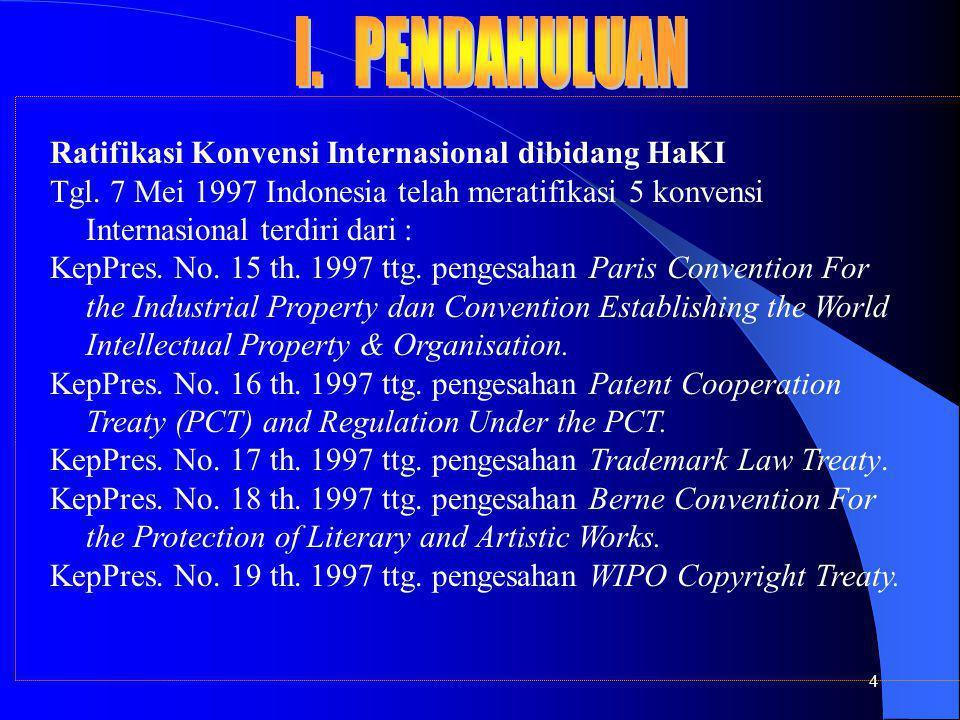 4 Ratifikasi Konvensi Internasional dibidang HaKI Tgl. 7 Mei 1997 Indonesia telah meratifikasi 5 konvensi Internasional terdiri dari : KepPres. No. 15