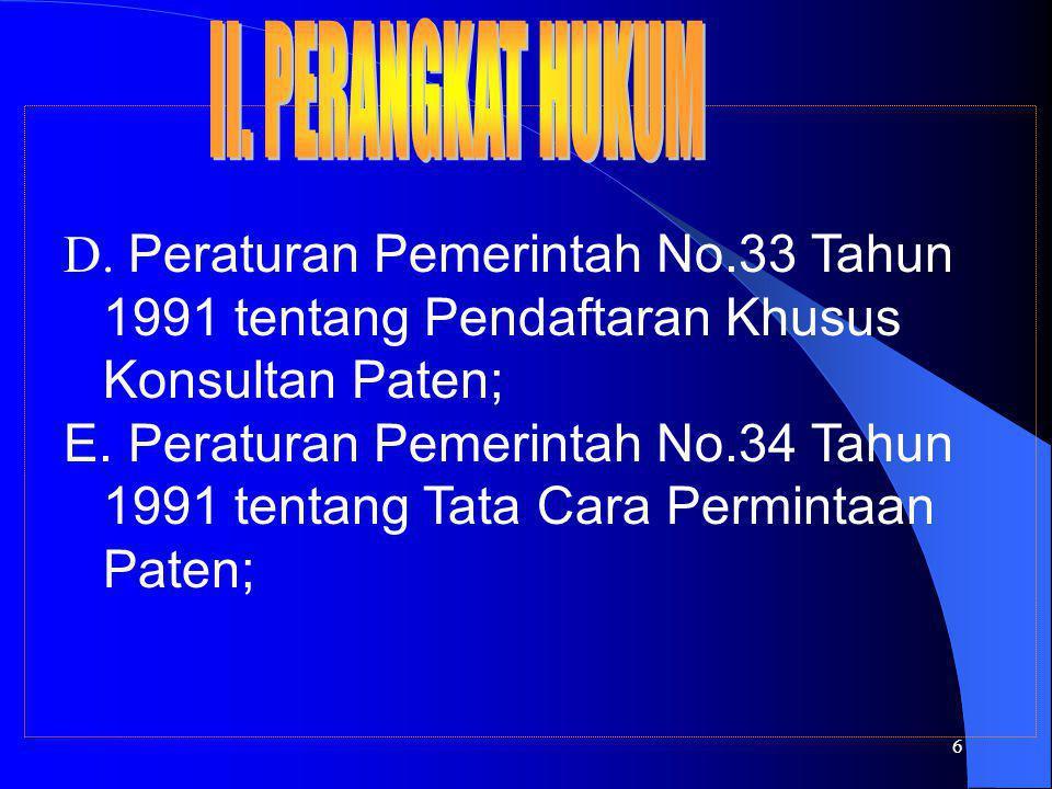 6 D. Peraturan Pemerintah No.33 Tahun 1991 tentang Pendaftaran Khusus Konsultan Paten; E. Peraturan Pemerintah No.34 Tahun 1991 tentang Tata Cara Perm