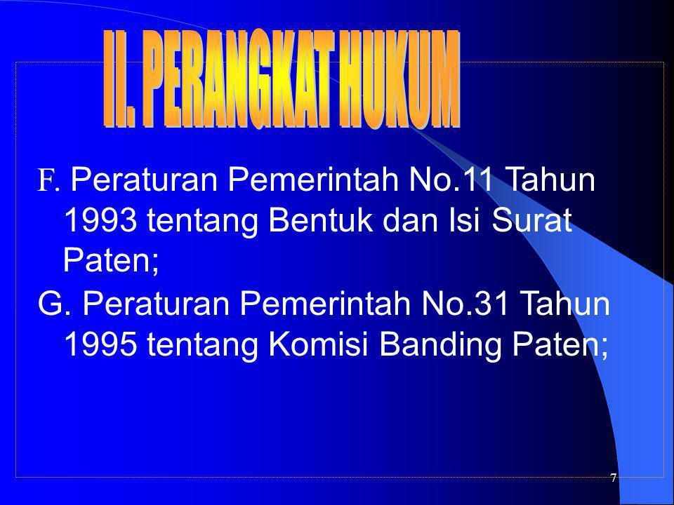 7 F. Peraturan Pemerintah No.11 Tahun 1993 tentang Bentuk dan Isi Surat Paten; G. Peraturan Pemerintah No.31 Tahun 1995 tentang Komisi Banding Paten;