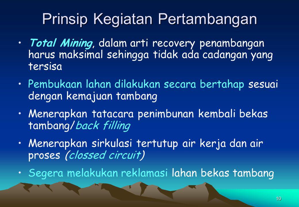 10 Prinsip Kegiatan Pertambangan Total Mining, dalam arti recovery penambangan harus maksimal sehingga tidak ada cadangan yang tersisa Pembukaan lahan