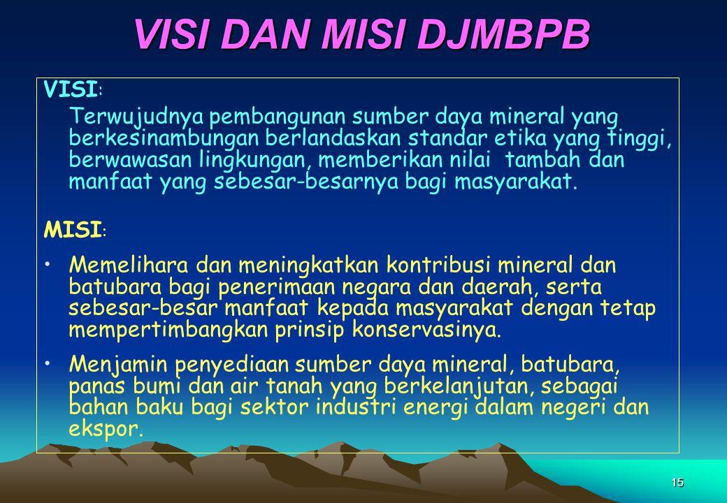 15 VISI DAN MISI DJMBPB VISI : Terwujudnya pembangunan sumber daya mineral yang berkesinambungan berlandaskan standar etika yang tinggi, berwawasan li