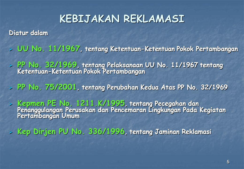 5 Diatur dalam  UU No. 11/1967, tentang Ketentuan-Ketentuan Pokok Pertambangan  PP No. 32/1969, tentang Pelaksanaan UU No. 11/1967 tentang Ketentuan
