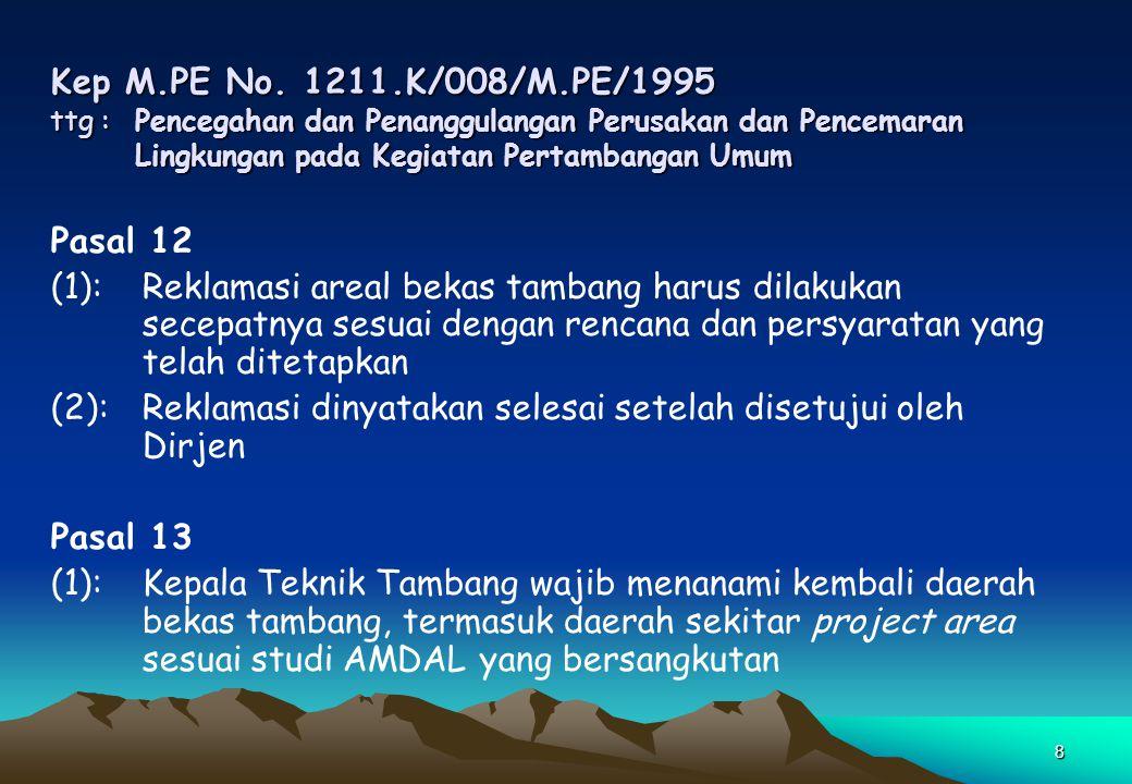 8 Kep M.PE No. 1211.K/008/M.PE/1995 ttg : Pencegahan dan Penanggulangan Perusakan dan Pencemaran Lingkungan pada Kegiatan Pertambangan Umum Pasal 12 (