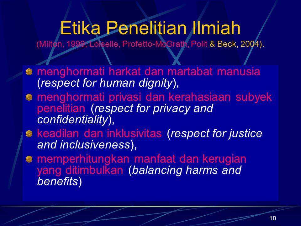 10 Etika Penelitian Ilmiah (Milton, 1999; Loiselle, Profetto-McGrath, Polit & Beck, 2004). menghormati harkat dan martabat manusia (respect for human