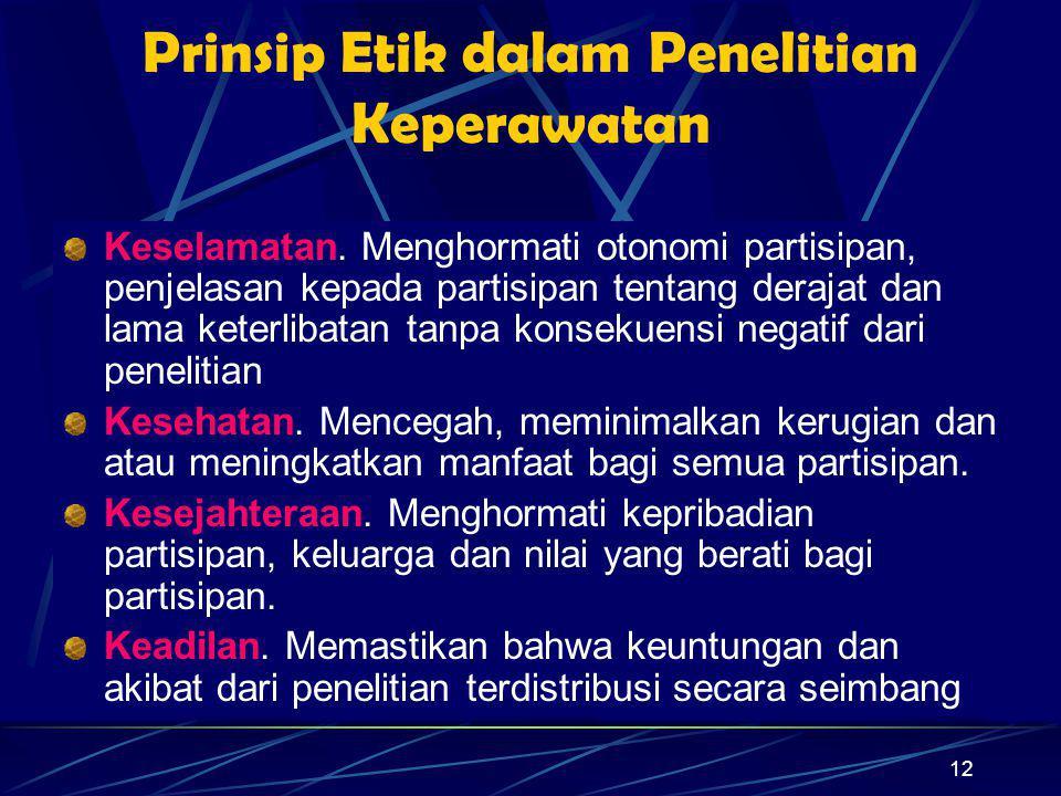 12 Prinsip Etik dalam Penelitian Keperawatan Keselamatan. Menghormati otonomi partisipan, penjelasan kepada partisipan tentang derajat dan lama keterl