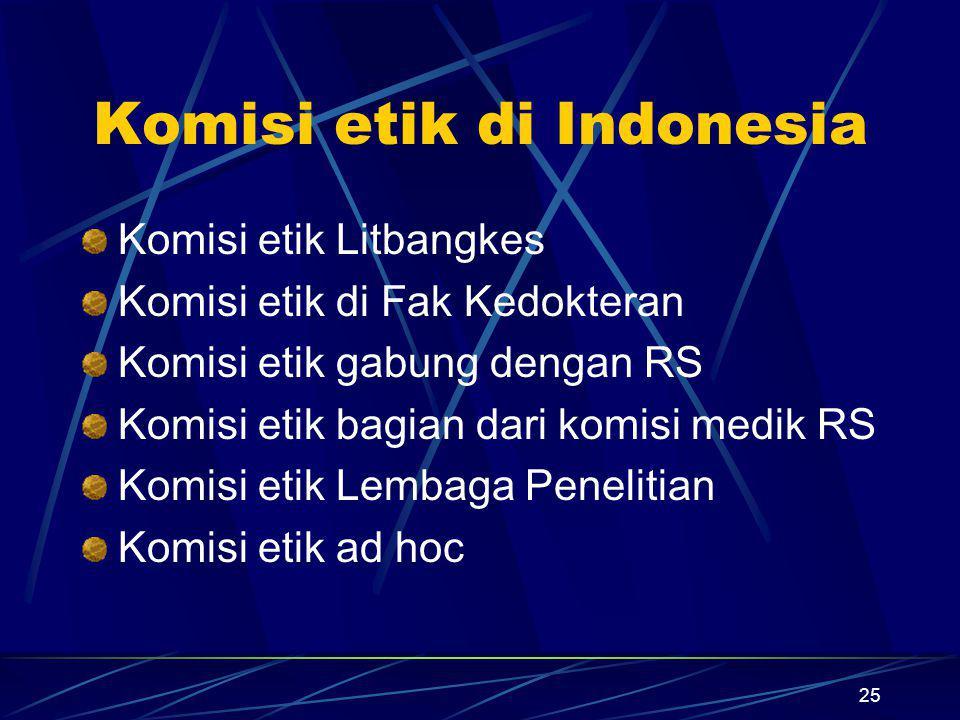25 Komisi etik di Indonesia Komisi etik Litbangkes Komisi etik di Fak Kedokteran Komisi etik gabung dengan RS Komisi etik bagian dari komisi medik RS