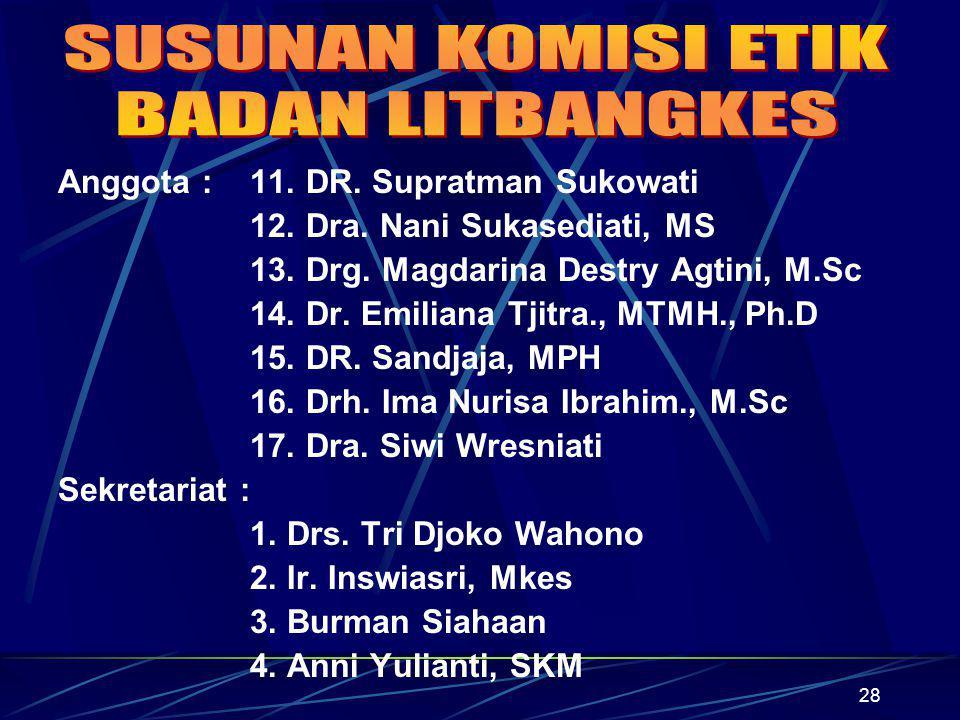 28 Anggota : 11. DR. Supratman Sukowati 12. Dra. Nani Sukasediati, MS 13. Drg. Magdarina Destry Agtini, M.Sc 14. Dr. Emiliana Tjitra., MTMH., Ph.D 15.