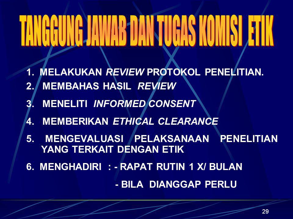 29 1. MELAKUKAN REVIEW PROTOKOL PENELITIAN. 2. MEMBAHAS HASIL REVIEW 3. MENELITI INFORMED CONSENT 4. MEMBERIKAN ETHICAL CLEARANCE 5. MENGEVALUASI PELA