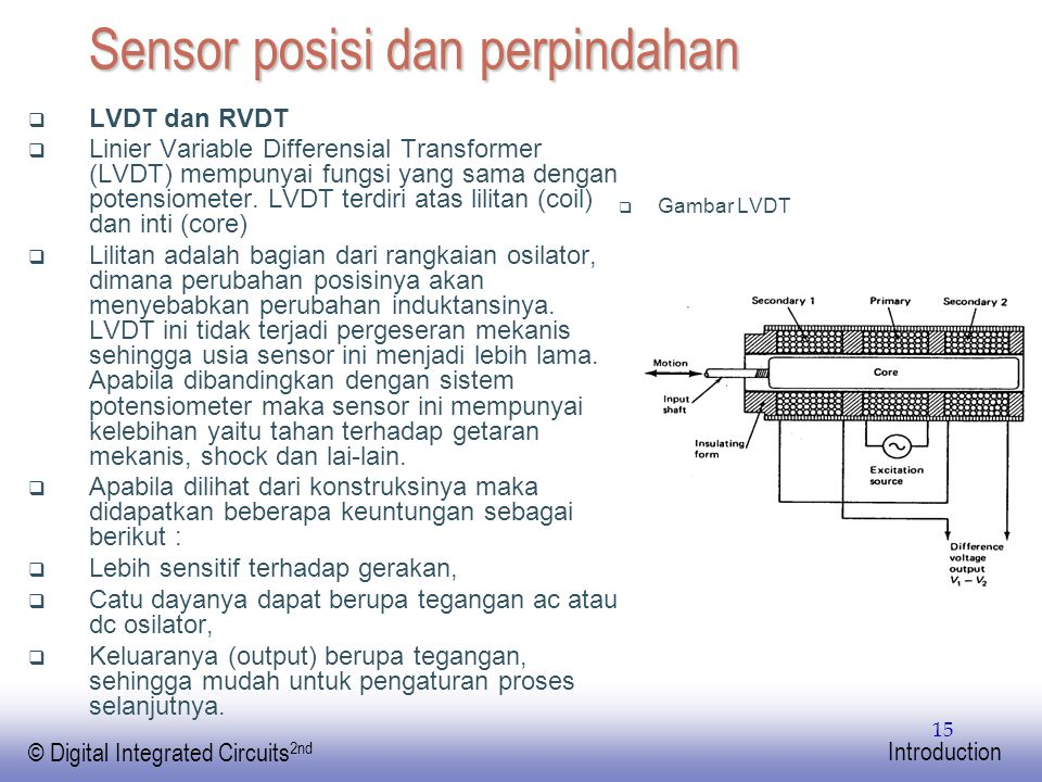 EE141 © Digital Integrated Circuits 2nd Introduction 15 Sensor posisi dan perpindahan  LVDT dan RVDT  Linier Variable Differensial Transformer (LVDT