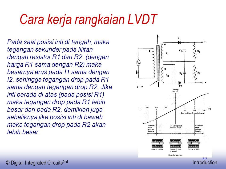 EE141 © Digital Integrated Circuits 2nd Introduction 16 Cara kerja rangkaian LVDT Pada saat posisi inti di tengah, maka tegangan sekunder pada lilitan