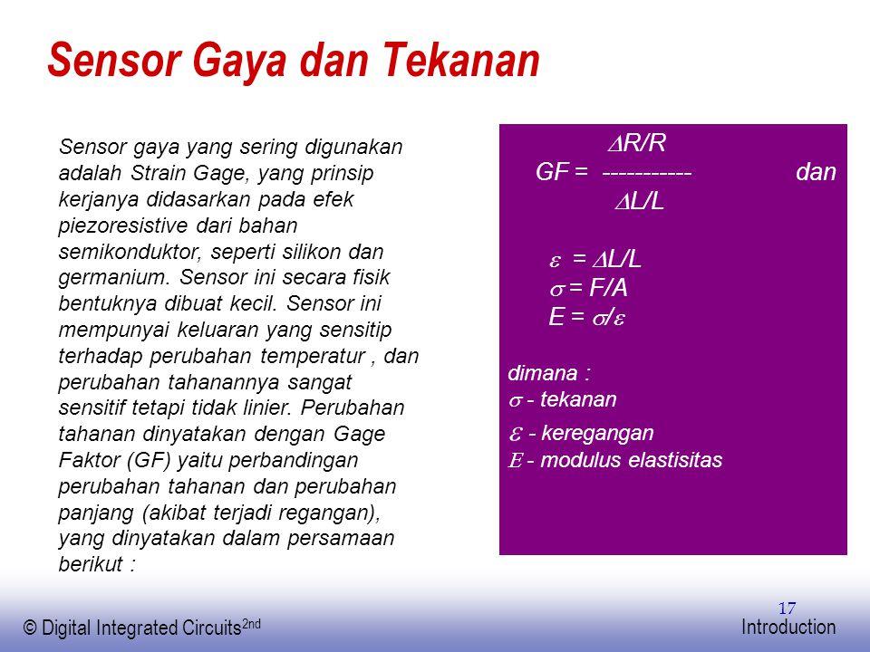 EE141 © Digital Integrated Circuits 2nd Introduction 17 Sensor Gaya dan Tekanan Sensor gaya yang sering digunakan adalah Strain Gage, yang prinsip ker