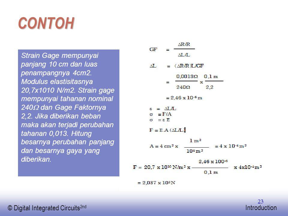 EE141 © Digital Integrated Circuits 2nd Introduction 23 CONTOH Strain Gage mempunyai panjang 10 cm dan luas penampangnya 4cm2. Modulus elastisitasnya