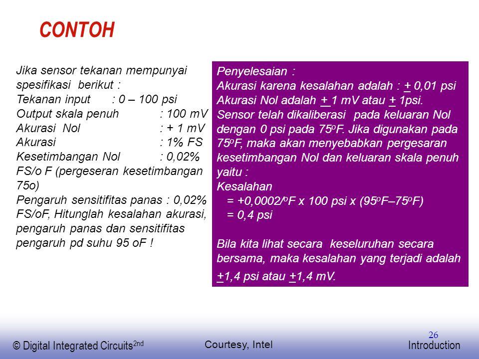 EE141 © Digital Integrated Circuits 2nd Introduction 26 CONTOH Courtesy, Intel Jika sensor tekanan mempunyai spesifikasi berikut : Tekanan input : 0 –