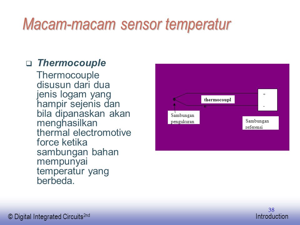 EE141 © Digital Integrated Circuits 2nd Introduction 38 Macam-macam sensor temperatur  Thermocouple Thermocouple disusun dari dua jenis logam yang ha