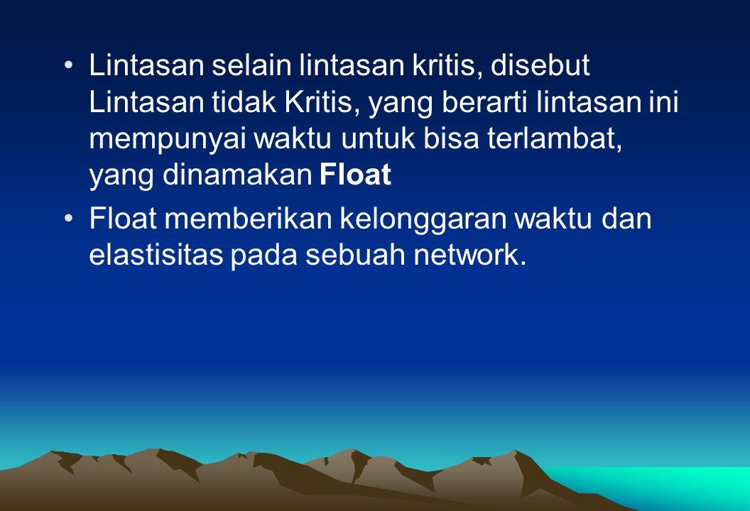 Lintasan selain lintasan kritis, disebut Lintasan tidak Kritis, yang berarti lintasan ini mempunyai waktu untuk bisa terlambat, yang dinamakan Float F