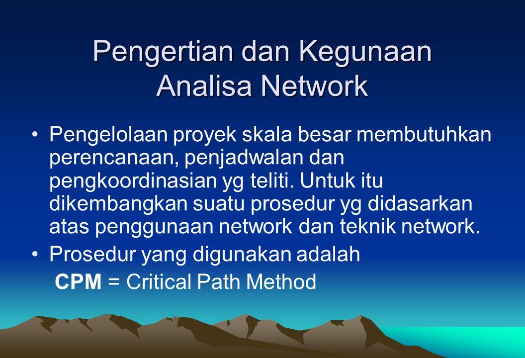 Analisa Network adalah suatu analisa yang dilakukan terhadap rencana pelaksanaan suatu proyek dg menggunakan suatu bagan network yg menggambarkan serangkaian kegiatan dari pelaksanaan proyek tersebut.