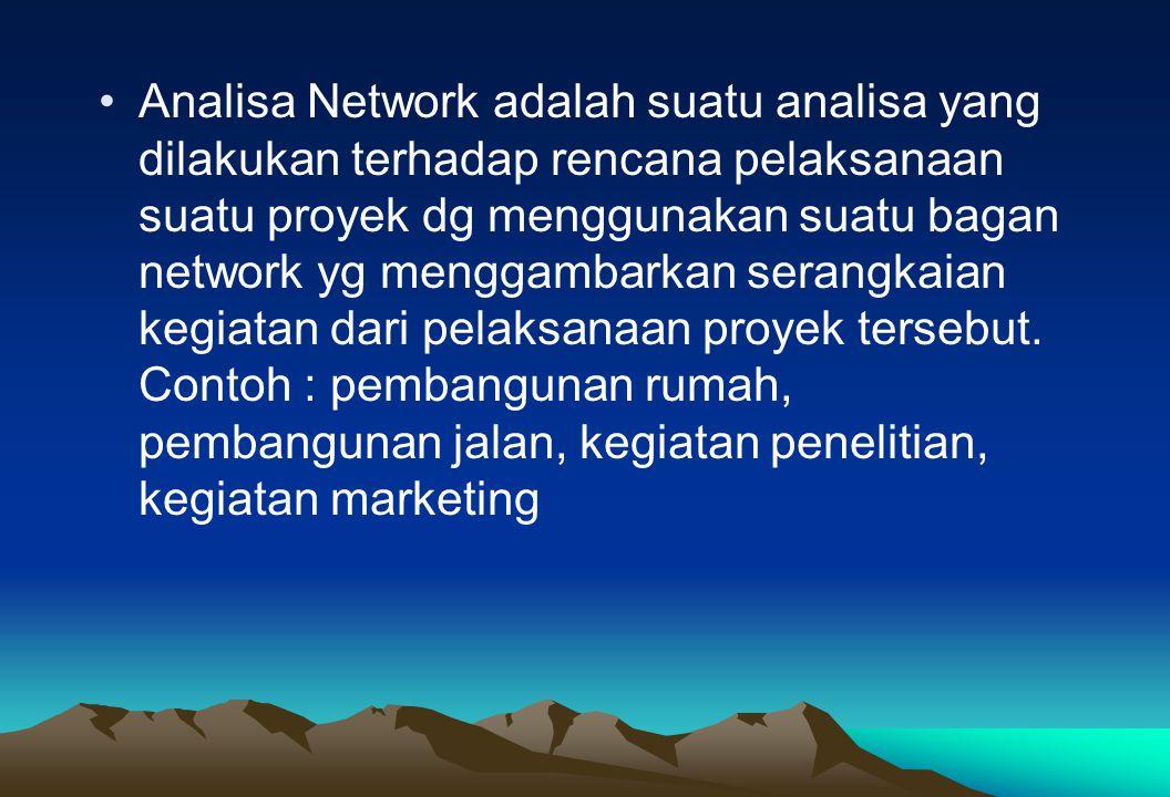 Analisa Network adalah suatu analisa yang dilakukan terhadap rencana pelaksanaan suatu proyek dg menggunakan suatu bagan network yg menggambarkan sera