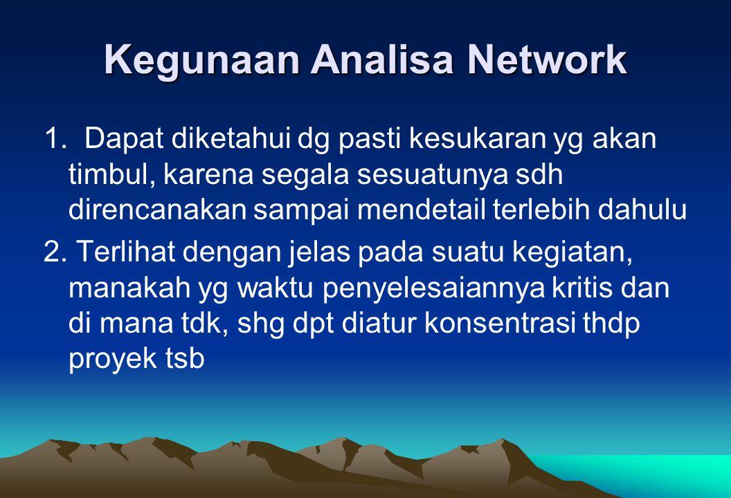 Kegunaan Analisa Network 1. Dapat diketahui dg pasti kesukaran yg akan timbul, karena segala sesuatunya sdh direncanakan sampai mendetail terlebih dah