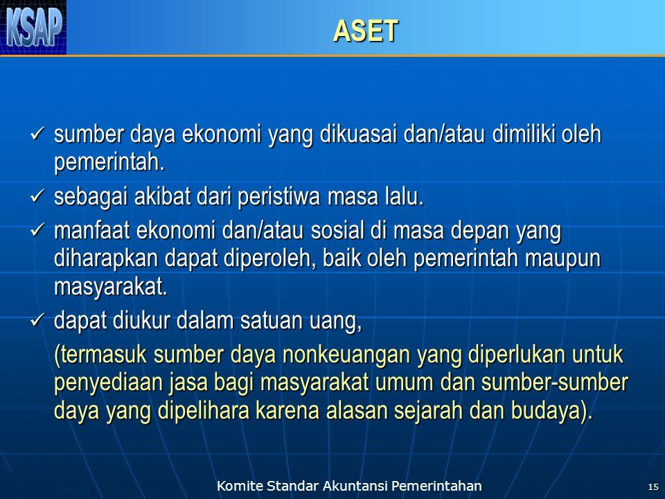 Komite Standar Akuntansi Pemerintahan 15 ASET sumber daya ekonomi yang dikuasai dan/atau dimiliki oleh pemerintah. sumber daya ekonomi yang dikuasai d