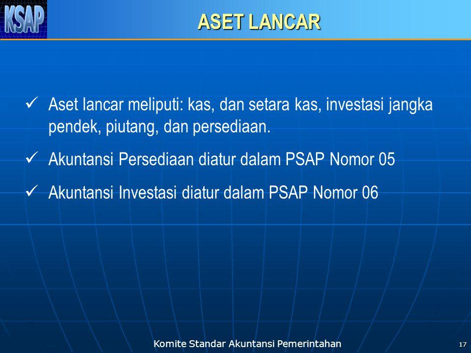 Komite Standar Akuntansi Pemerintahan 17 ASET LANCAR Aset lancar meliputi: kas, dan setara kas, investasi jangka pendek, piutang, dan persediaan. Akun