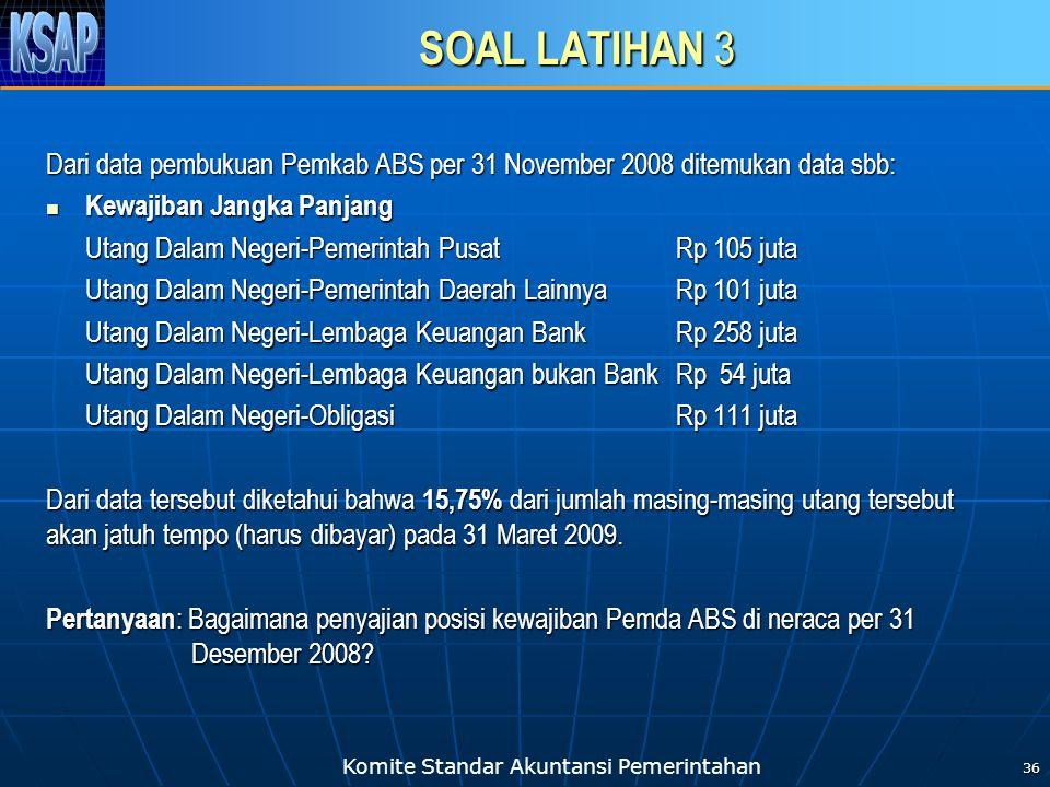 Komite Standar Akuntansi Pemerintahan SOAL LATIHAN 3 Dari data pembukuan Pemkab ABS per 31 November 2008 ditemukan data sbb: Kewajiban Jangka Panjang