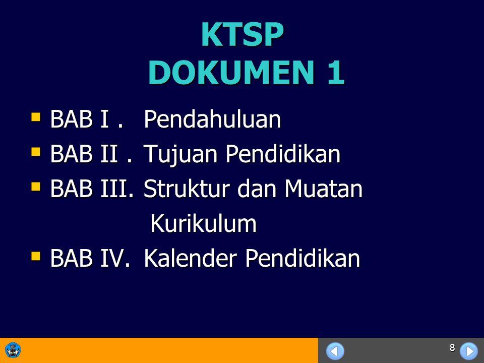 8 KTSP DOKUMEN 1  BAB I.Pendahuluan  BAB II. Tujuan Pendidikan  BAB III.