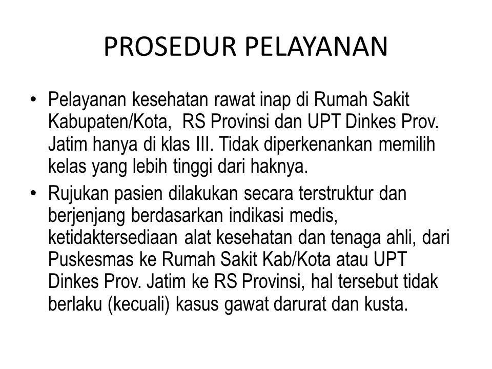 PROSEDUR PELAYANAN Pelayanan kesehatan rawat inap di Rumah Sakit Kabupaten/Kota, RS Provinsi dan UPT Dinkes Prov. Jatim hanya di klas III. Tidak diper