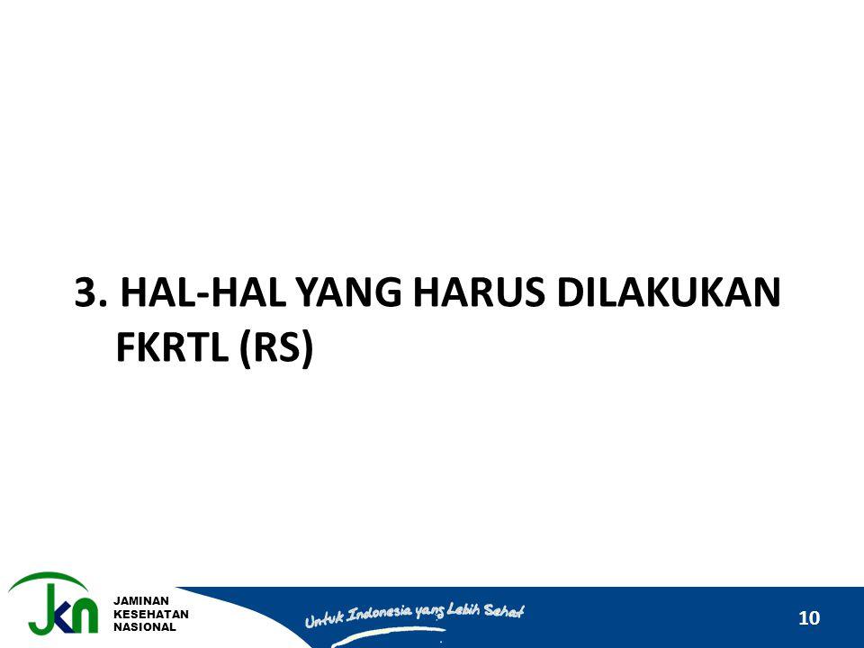 JAMINAN KESEHATAN NASIONAL 10 3. HAL-HAL YANG HARUS DILAKUKAN FKRTL (RS)