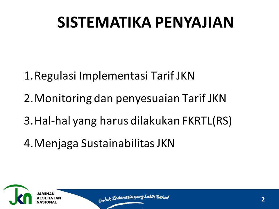 JAMINAN KESEHATAN NASIONAL 2 SISTEMATIKA PENYAJIAN 1.Regulasi Implementasi Tarif JKN 2.Monitoring dan penyesuaian Tarif JKN 3.Hal-hal yang harus dilak