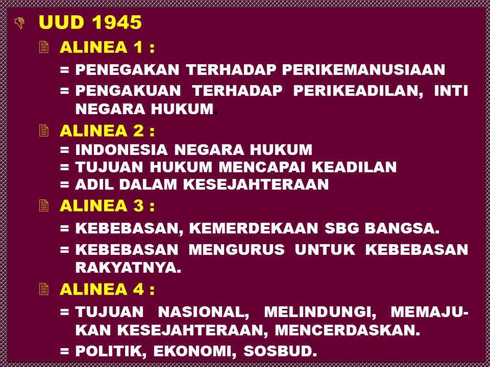  UUD 1945  ALINEA 1 : =PENEGAKAN TERHADAP PERIKEMANUSIAAN =PENGAKUAN TERHADAP PERIKEADILAN, INTI NEGARA HUKUM.