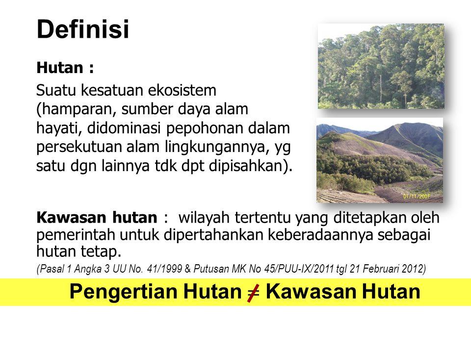 Definisi Hutan : Suatu kesatuan ekosistem (hamparan, sumber daya alam hayati, didominasi pepohonan dalam persekutuan alam lingkungannya, yg satu dgn l
