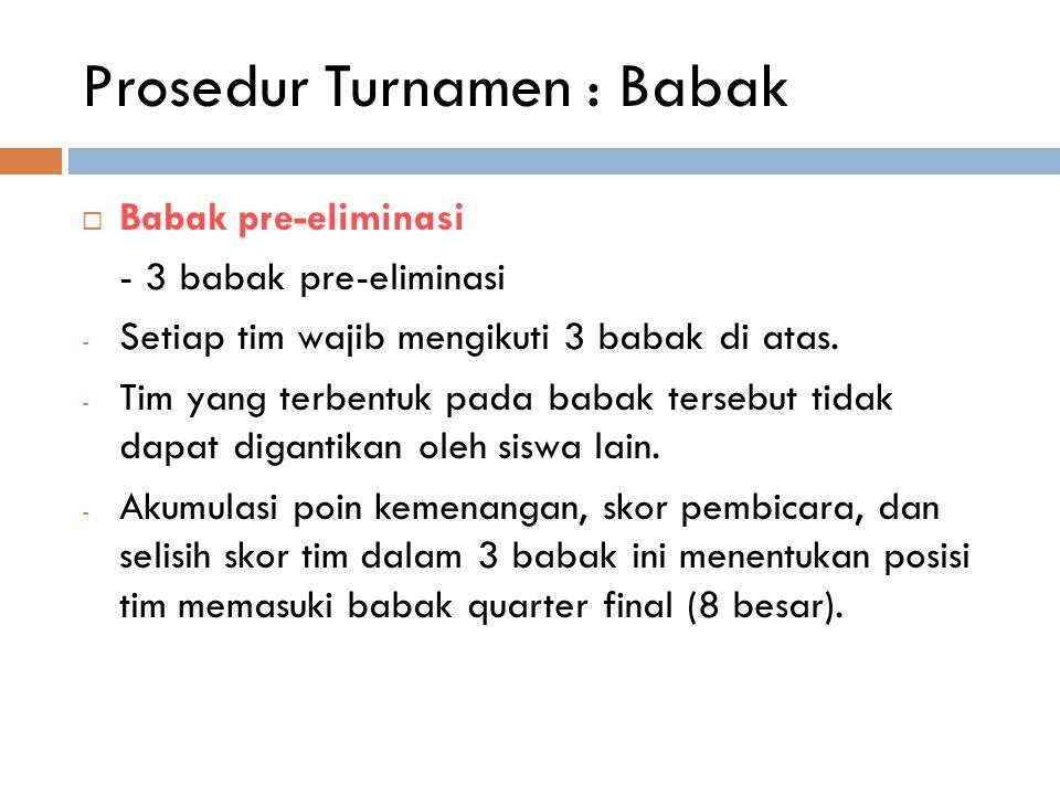 Prosedur Turnamen : Babak  Babak pre-eliminasi - 3 babak pre-eliminasi - Setiap tim wajib mengikuti 3 babak di atas. - Tim yang terbentuk pada babak