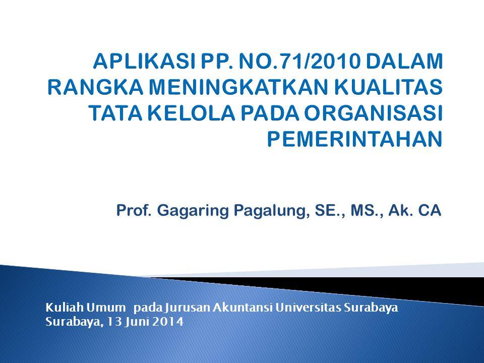 Prof. Gagaring Pagalung, SE., MS., Ak. CA Kuliah Umum pada Jurusan Akuntansi Universitas Surabaya Surabaya, 13 Juni 2014