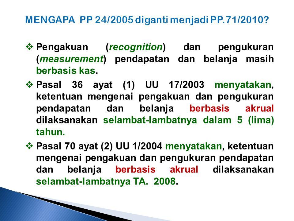 MENGAPA PP 24/2005 diganti menjadi PP.71/2010?  Pengakuan (recognition) dan pengukuran (measurement) pendapatan dan belanja masih berbasis kas.  Pas