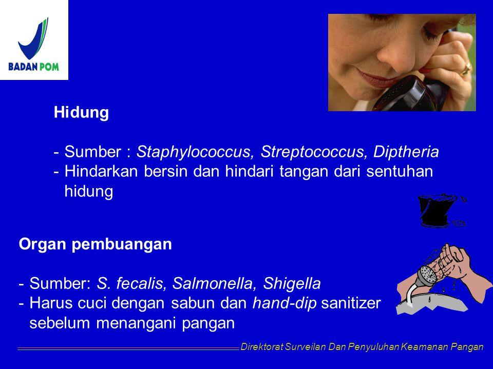 Hidung -Sumber : Staphylococcus, Streptococcus, Diptheria -Hindarkan bersin dan hindari tangan dari sentuhan hidung Organ pembuangan -Sumber: S. fecal