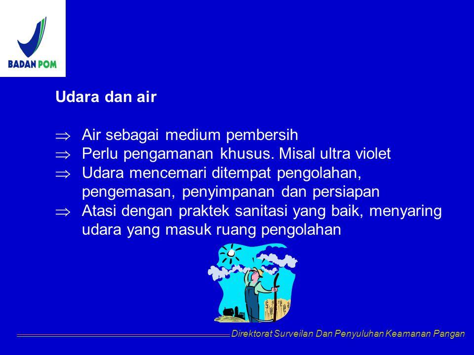 Udara dan air  Air sebagai medium pembersih  Perlu pengamanan khusus. Misal ultra violet  Udara mencemari ditempat pengolahan, pengemasan, penyimpa
