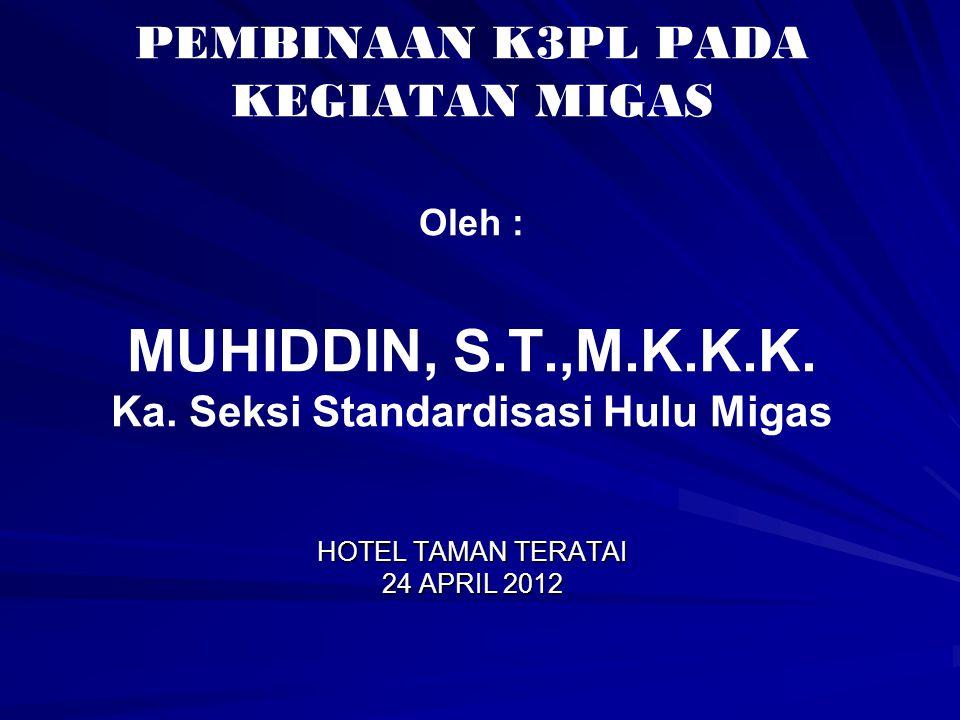PEMBINAAN K3PL PADA KEGIATAN MIGAS Oleh : MUHIDDIN, S.T.,M.K.K.K. Ka. Seksi Standardisasi Hulu Migas HOTEL TAMAN TERATAI 24 APRIL 2012