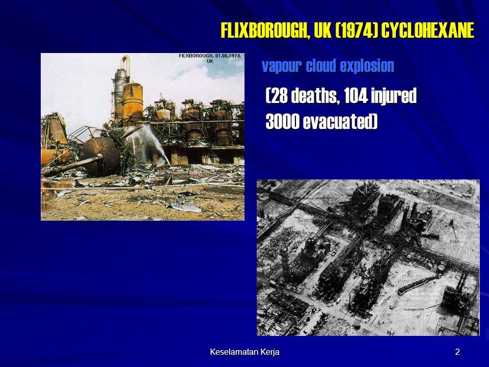 Keselamatan Kerja 2 FLIXBOROUGH, UK (1974) CYCLOHEXANE (28 deaths, 104 injured 3000 evacuated) vapour cloud explosion
