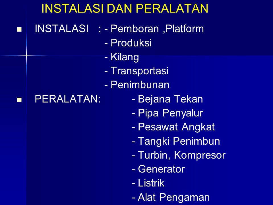I NSTALASI DAN PERALATAN INSTALASI : - Pemboran,Platform - Produksi - Kilang - Transportasi - Penimbunan PERALATAN: - Bejana Tekan - Pipa Penyalur - P
