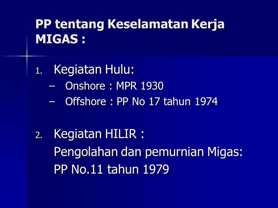 PP tentang Keselamatan Kerja MIGAS : 1. Kegiatan Hulu: –Onshore : MPR 1930 –Offshore : PP No 17 tahun 1974 2. Kegiatan HILIR : Pengolahan dan pemurnia