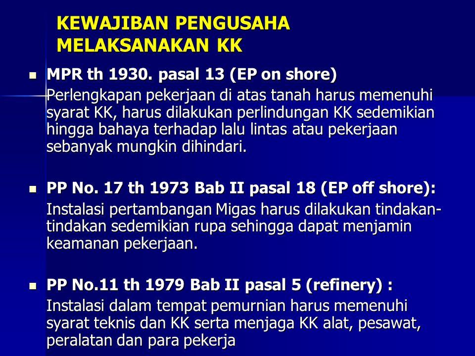 KEWAJIBAN PENGUSAHA MELAKSANAKAN KK MPR th 1930. pasal 13 (EP on shore) MPR th 1930. pasal 13 (EP on shore) Perlengkapan pekerjaan di atas tanah harus