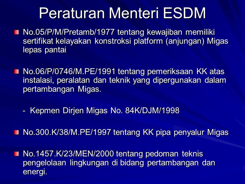 Peraturan Menteri ESDM No.05/P/M/Pretamb/1977 tentang kewajiban memiliki sertifikat kelayakan konstroksi platform (anjungan) Migas lepas pantai No.06/