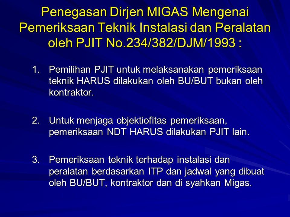 Penegasan Dirjen MIGAS Mengenai Pemeriksaan Teknik Instalasi dan Peralatan oleh PJIT No.234/382/DJM/1993 : 1.Pemilihan PJIT untuk melaksanakan pemerik
